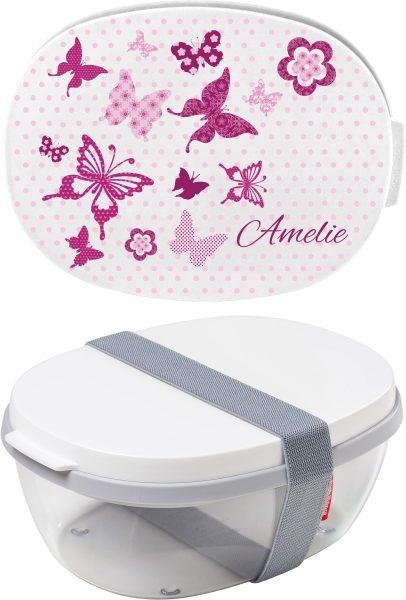 Salatbox Ellipse Weiss Schmetterlinge