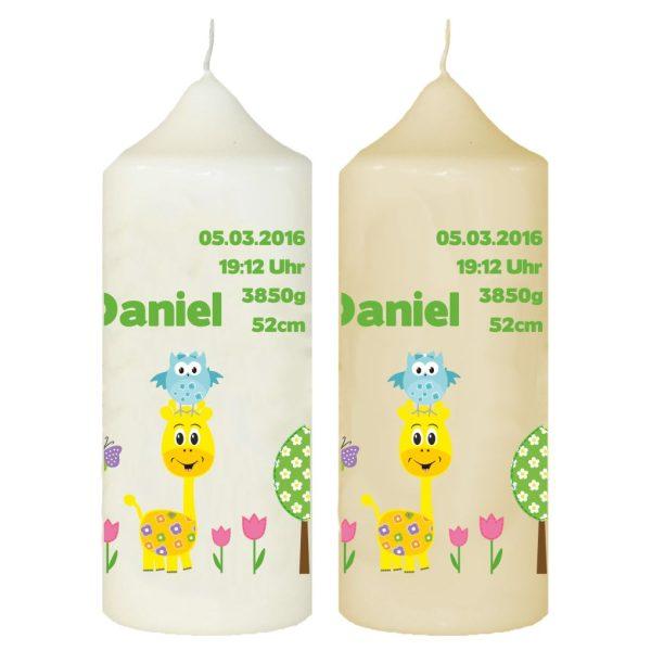 Taufkerze mit Name und Datum Giraffe mit Eule grün