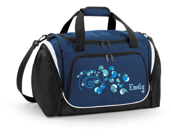 Sporttasche mit Feuchtfach mit Name und Wassertropfen