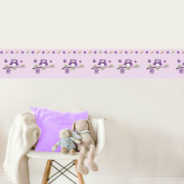 Vlies Bordüre selbstklebend für Kinderzimmer Happy Eule lila