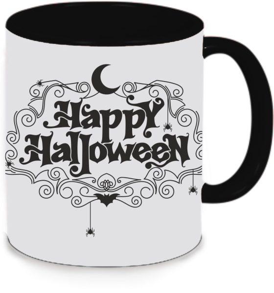 Tasse Schwarz Happy Halloween Mond