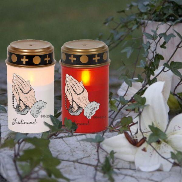 LED Grablicht Kerze Klein Betende Hände