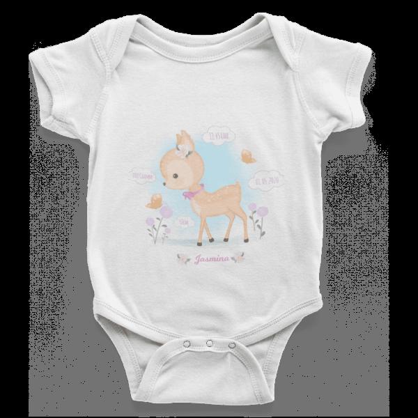 Baby Body Geschenk zur Geburt mit Geburtsdaten Reh