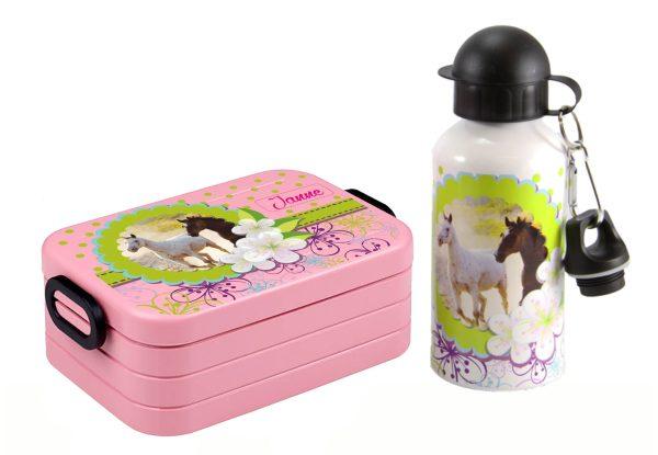 Brotdose Take A Break midi - Alu-Trinkflasche Nordic Pink Pferdetraum