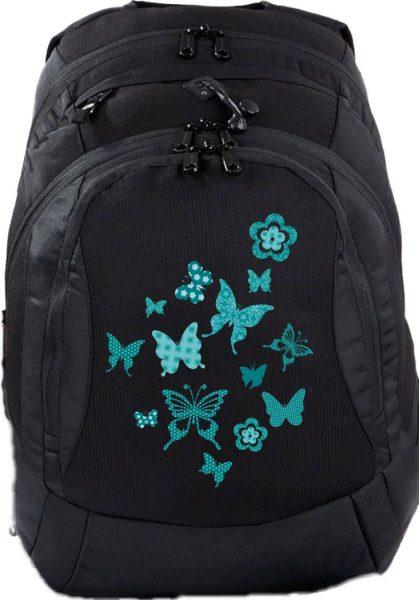 Schulrucksack Teen Compact Schmetterlinge türkis