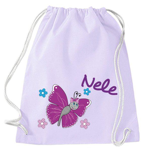 Turnbeutel aus Baumwolle in Lavendel mit Name und Schmetterling
