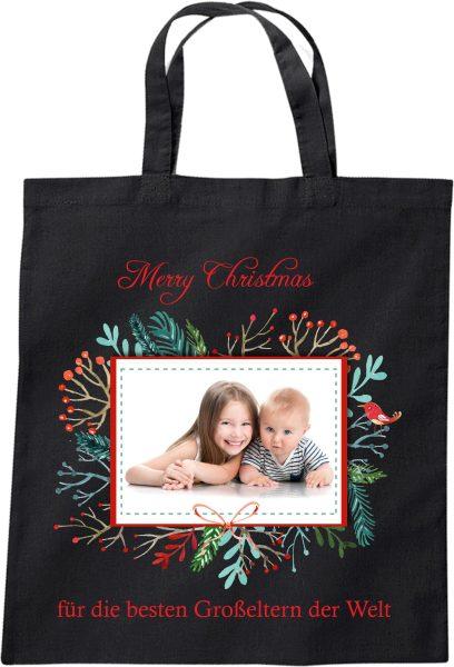Stofftasche zu Weihnachten Geschenktasche mit Foto und Namen schwarz Kranz