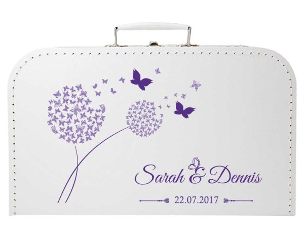 Koffer zur Hochzeit in weiss mit Pusteblume aus Schmetterlingen