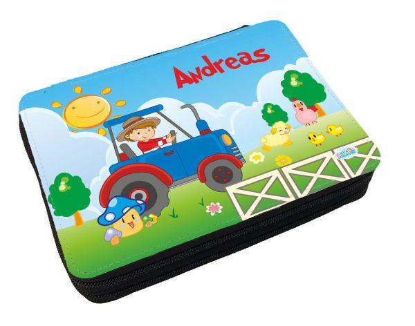 Personalisiertes Federmäppchen mit eigenem Namen und Traktor