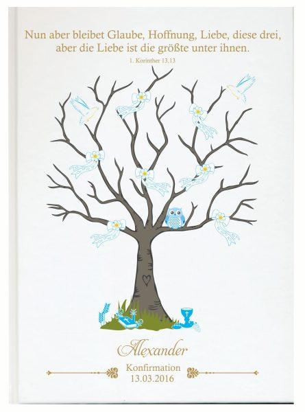 Personalisiertes Gästebuch zur Konfirmation Kommunion blau Eule