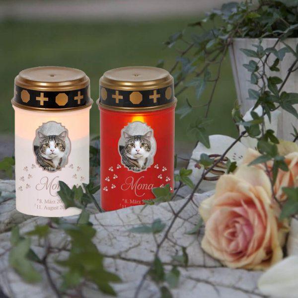 LED Grablicht Kerze Klein für Tiere mit Foto im Rahmen und Pfoten