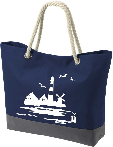 Shopper Bag Einkaufstasche Maritim Nautical Leuchtturm