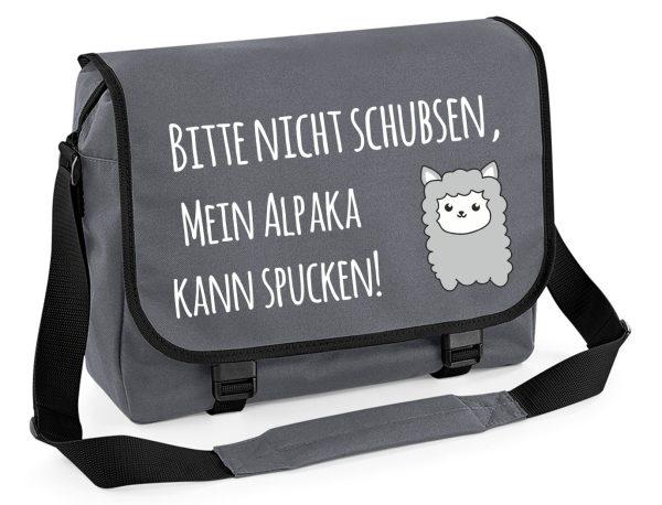 Schultertasche Schultasche Messenger Bitte nicht schubsen, mein Alpaka kann spucken!