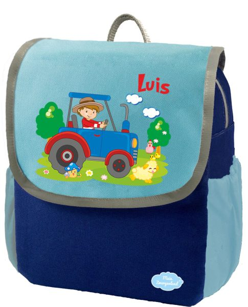 Kindergartenrucksack Happy Knirps NEXT mit Name Blau Traktor Bauernhof