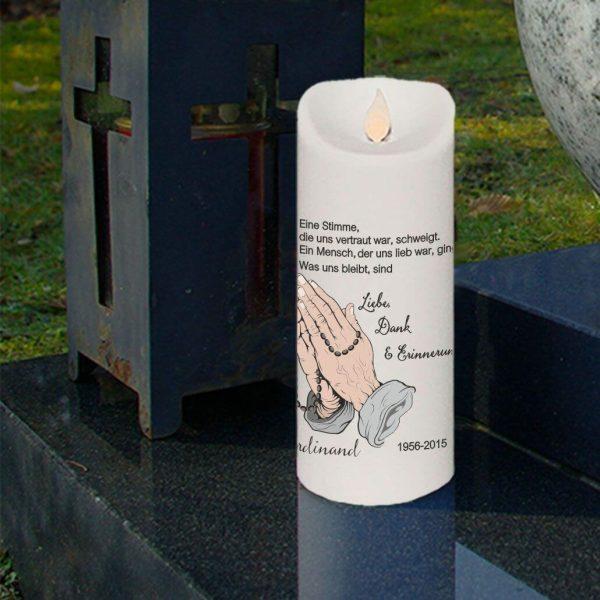 LED Kerze Twinkle Trauerkerze Betende Hände