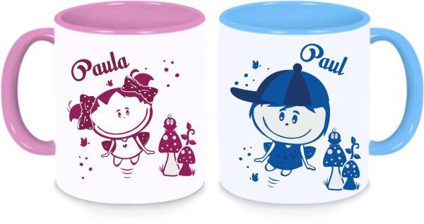 Tassen Twinset in rosa und blau mit Name und Paul & Paula Sonnenschein