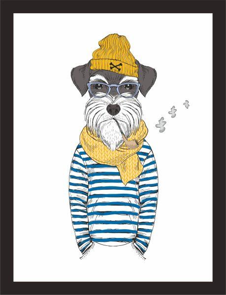 Kunstdruck Hund mit Pfeife