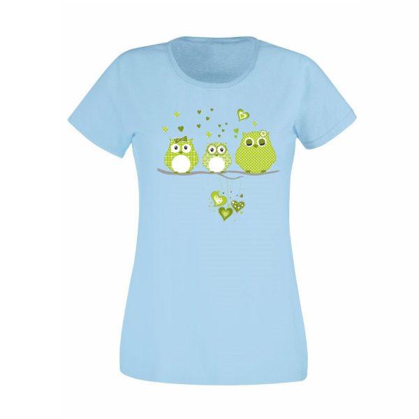 Damen T-Shirt Eulen grün
