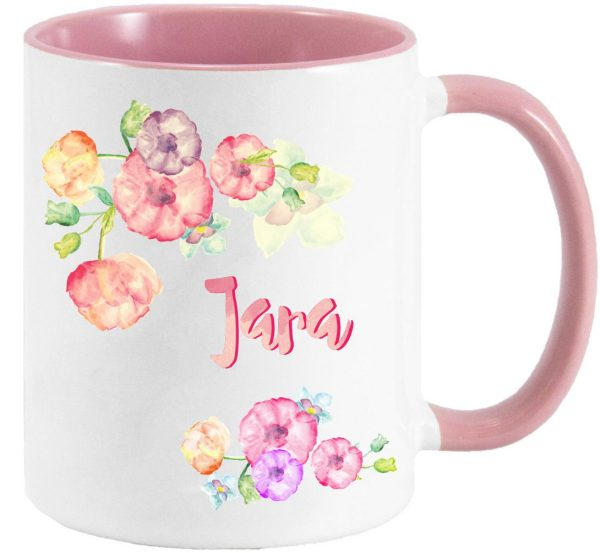 Tasse Rosa Watercolor Blüten