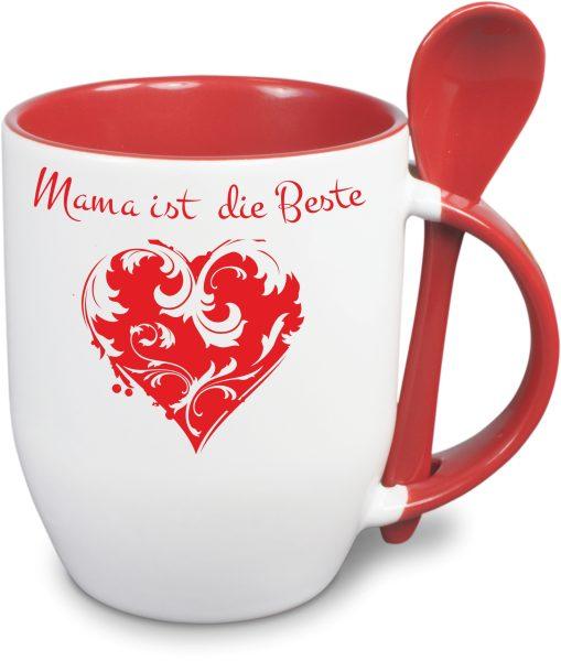 Löffeltasse zum Muttertag rot Herz mit Ranke