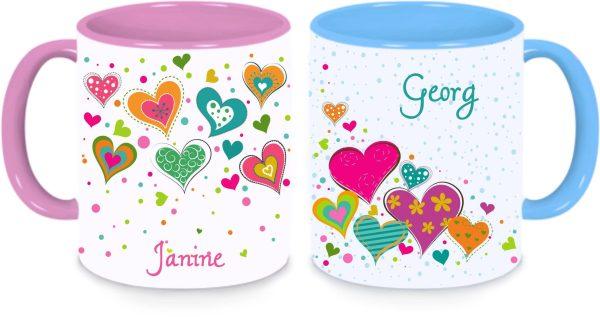 Tassen Twinset in rosa und blau - Herzchen