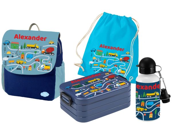 Set 5 Rucksack Happy Knirps NEXT Print - Brotdose - Flasche - Jutebeutel Blau Baufahrzeuge