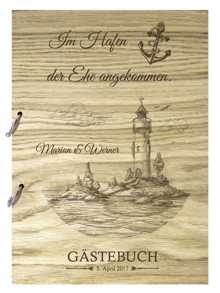 Rustikales Gästebuch aus Holz zur Hochzeit personalisiert Maritim Leuchtturm