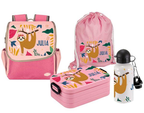 Set 5 Rucksack Happy Knirps NEXT - Brotdose Maxi - Jutebeutel - Flasche Pink Faultier Mädchen