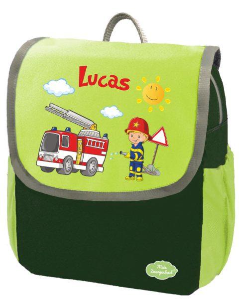 Kindergartenrucksack Happy Knirps NEXT mit Name Grün Feuerwehr