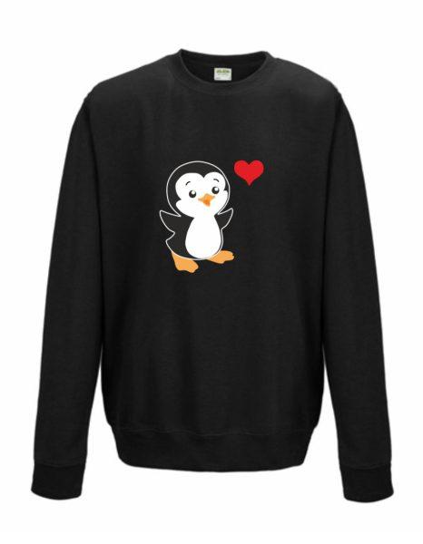 Sweatshirt Shirt Pullover Pulli Unisex Pinguin mit Herz