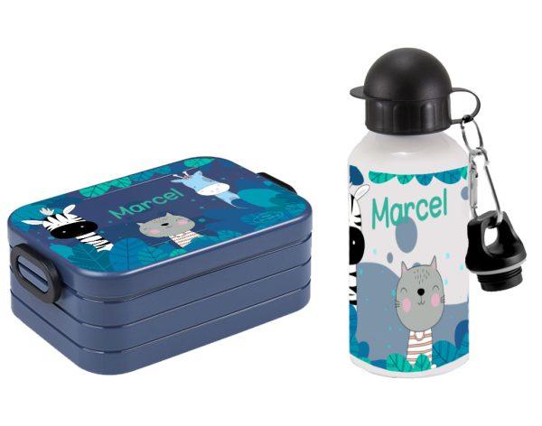 Bento Lunchbox Maxi Take a Break Midi - Alu-Trinkflasche Zebra Katze Giraffe