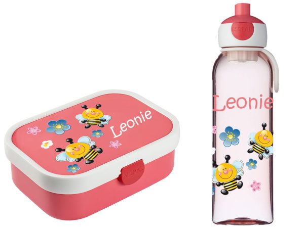 Brotzeitset Mepal Campus + Campus Wasserflasche mit Bento Box und Gabel Rose vers. Motive