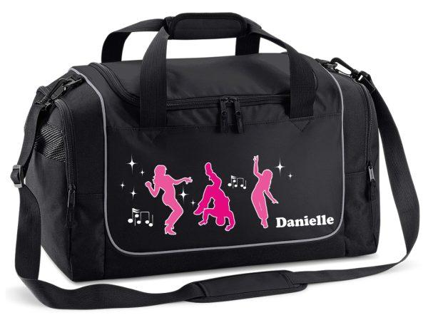 Sporttasche in Schwarz mit Name und Tanz Hip Hop Streetdance Tanzen