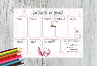 Schreibtischunterlage Wochenplaner Kalender mit witzigem Einhorn Design (DIN A3, 50 Blatt)