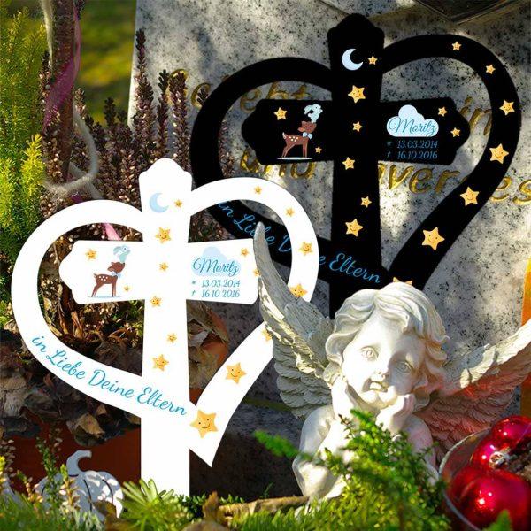 Grabkreuz mit Herz für Sternenkind Reh mit Hase in Blau