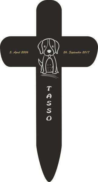 Grabkreuz fürs Tier Hund Silhouette