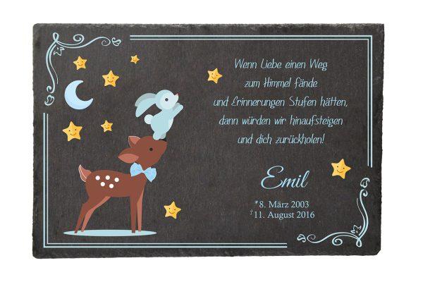 Gedenktafel Sternenkind Reh mit Hase in blau