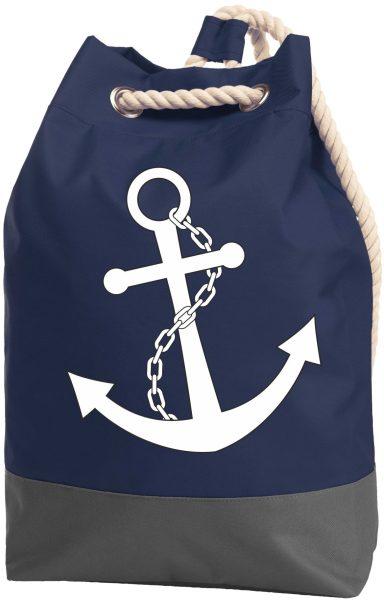 Rucksack Seesack Beutel mit Kordel Maritim Nautical Anker