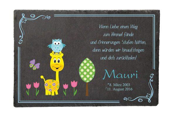 Gedenktafel Sternenkind Giraffe mit Eule