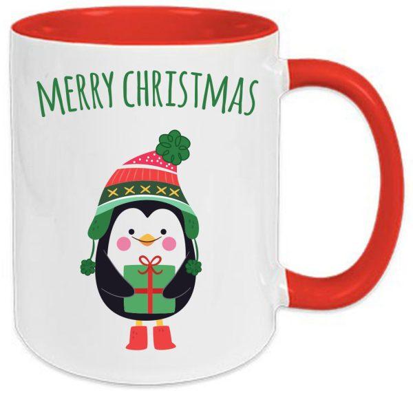 Tasse Rot Weihnachten Pinguin