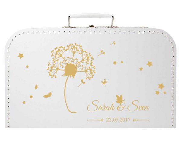 Koffer zur Hochzeit in weiss mit Pusteblume