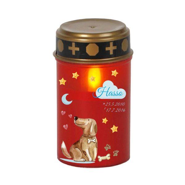 LED Grablicht Kerze Klein für Tiere Hund mit Wolke