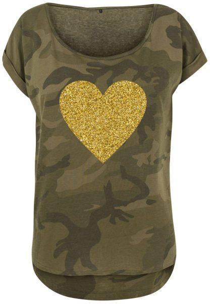 Damen Camouflage T-Shirt Glitzer Herz