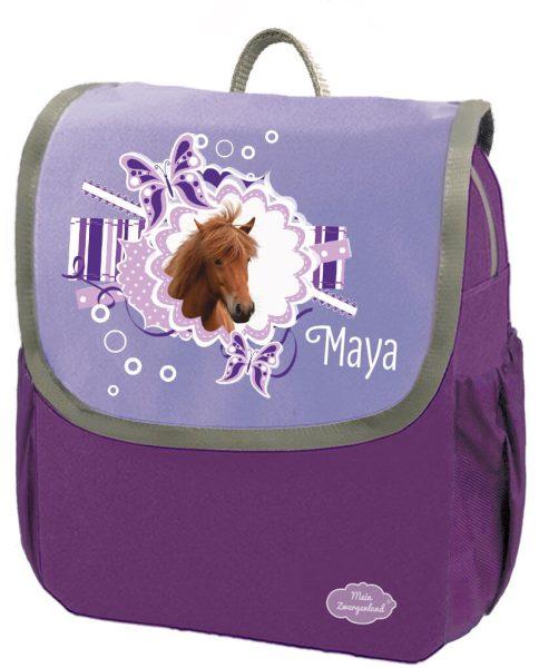 Kindergartenrucksack Happy Knirps NEXT mit Name Lila Pferd