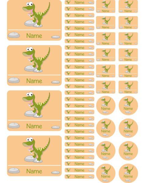 Namensaufkleber Heftaufkleber Stickerbogen Dino