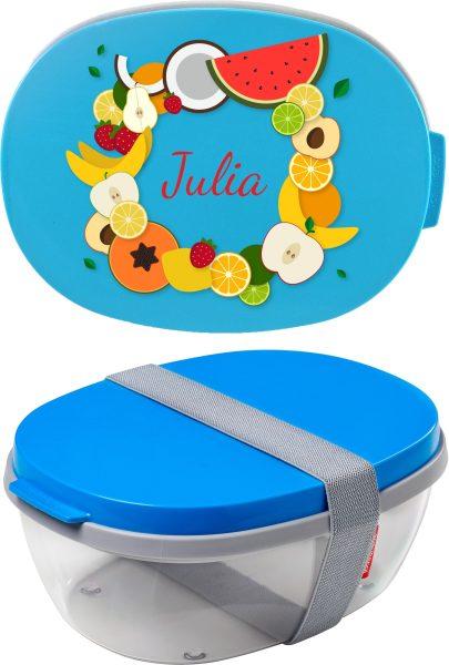Salatbox Ellipse Aqua Obst