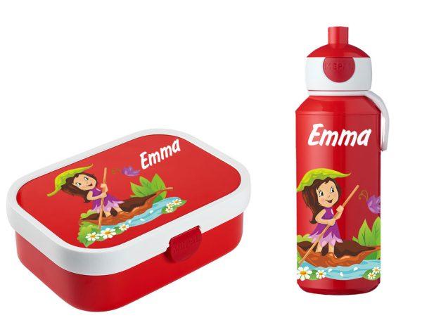 Brotdose Campus mit Bento-Einsatz - Campus Pop-Up Trinkflasche rot Mädchen4
