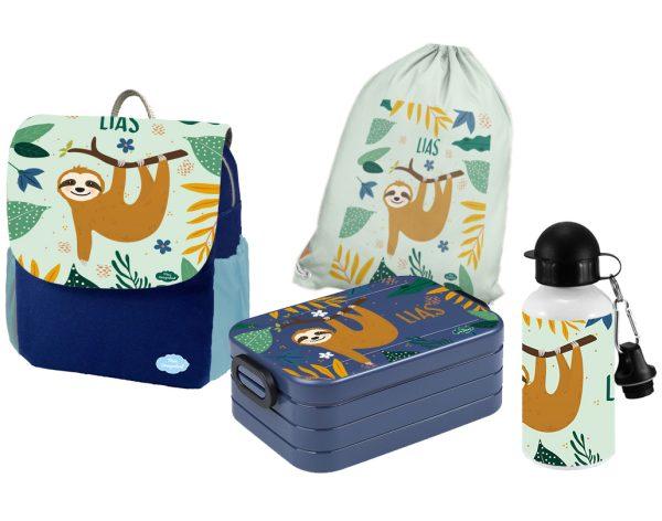 Set 5 Rucksack Happy Knirps NEXT Print - Brotdose - Trinkflasche - Jutebeutel Blau Faultier Junge