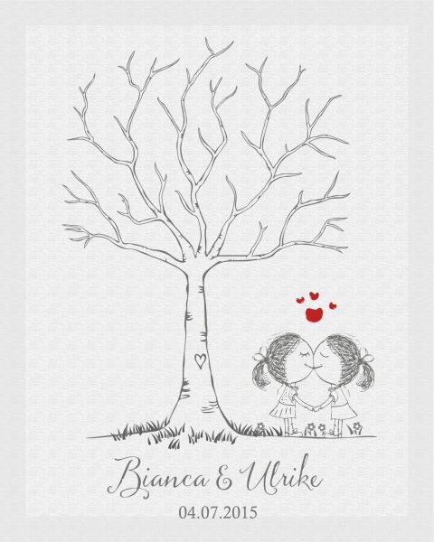 Hochzeitsleinwand Leinwand Fingerabdruckbaum Wedding Tree Gästebuch Frauenpärchen