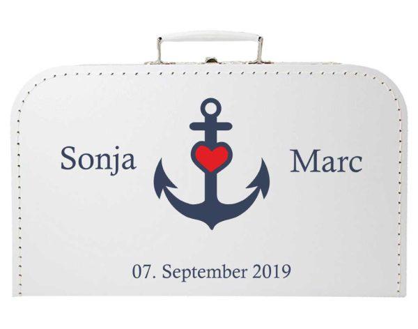 Koffer zur Hochzeit in weiss mit maritimen Ankerherz